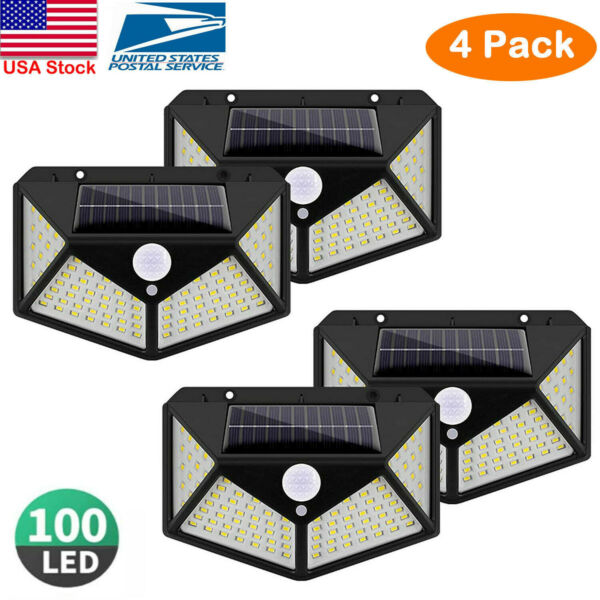 4PK 100LED Solar Power PIR Motion Sensor Wall Light Outdoor Garden Security Lamp