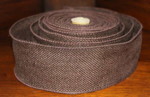 "FAUX BURLAP RIBBON ROLL 2.5"" x 5 yd Wired Edge Rustic Country Man Cave Decor"