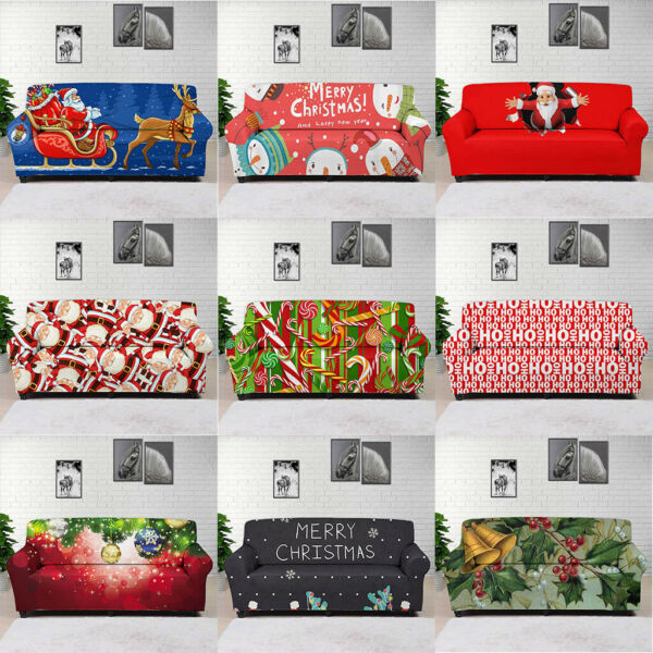 Christmas Printed Home Decor Slipcover Stretch Sofa Seat Couch Furniture Covers $49.99