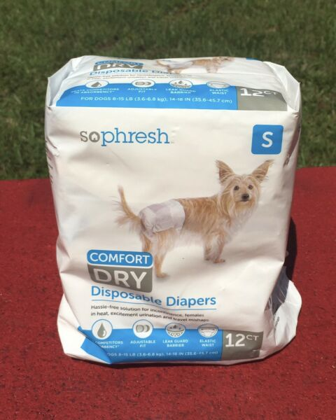 So Phresh Comfort Dry Disposable Dog Diapers Count of 12 Small OPEN BAG $15.95