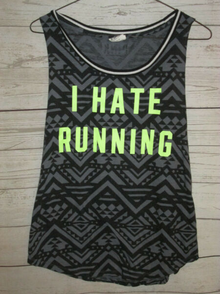 Victoria Secret Pink S Small Tank Top I Hate Running Aztec Black RK $12.55