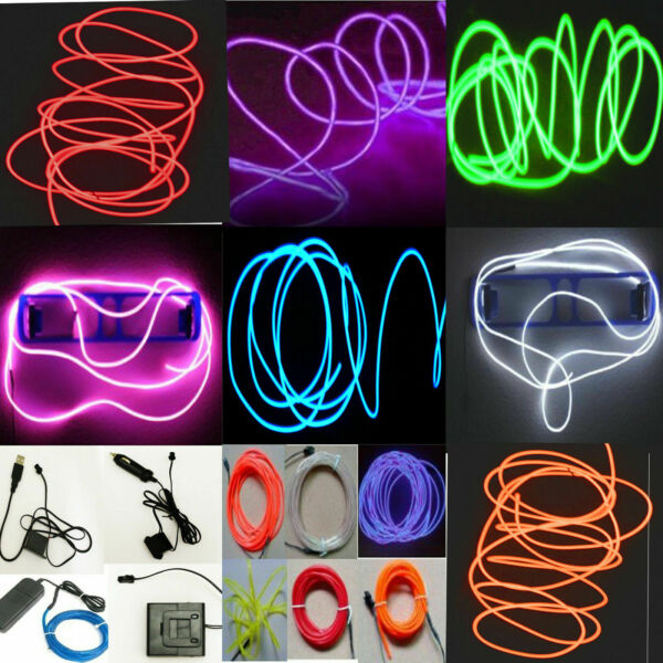 Neon LED Light Glow EL Wire String Strip Rope Tube Decor Car Party Controller