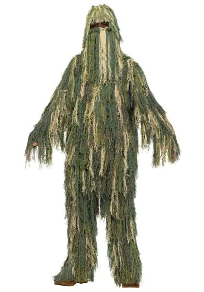 CHILD DELUXE GHILLIE SUIT CAMOFLAGE SUIT amp; MATCHING HOOD NEW BOYS LARGE 12 14