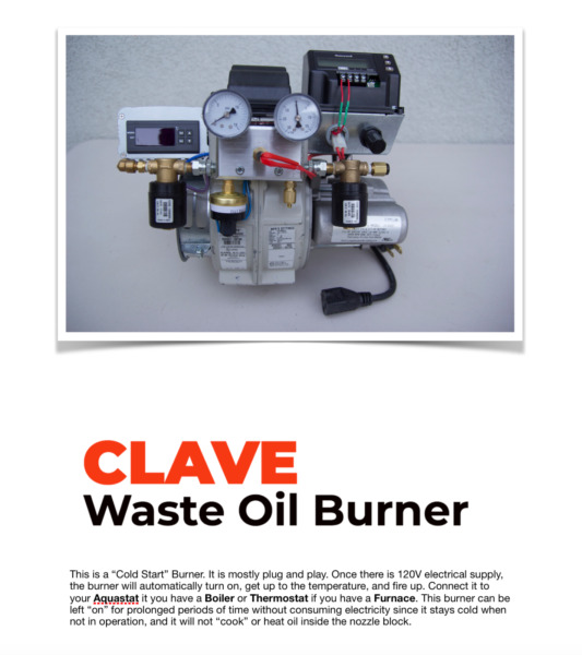 Waste Oil Burner for heater furnace or boiler very clean burn 120v $1800.00