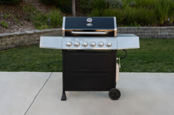 OUTDOOR GAS GRILL 6 Burner Propane BBQ Grill Stainless Steel with Wheels Black