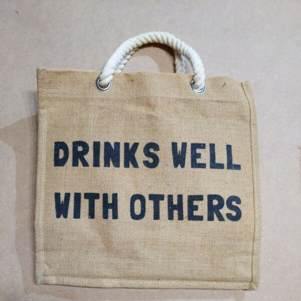 Burlap 6 bottle Wine carry or Gift Bquot;Drinks Well With Othersquot; used