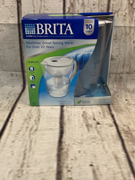 Brita Pacifica 10 Cup Water Filter Pitcher with Filter White New sealed