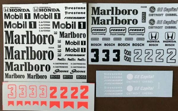 D225 1 18 SCALE DECALS FOR PENSKE MARLBORO HONDA POWERED INDY CAR #2 or #3