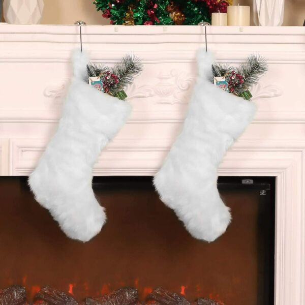 Large Set of 2 White Faux Fur Christmas Stockings 20quot; Xmas Hanging Presents NEW $118.88