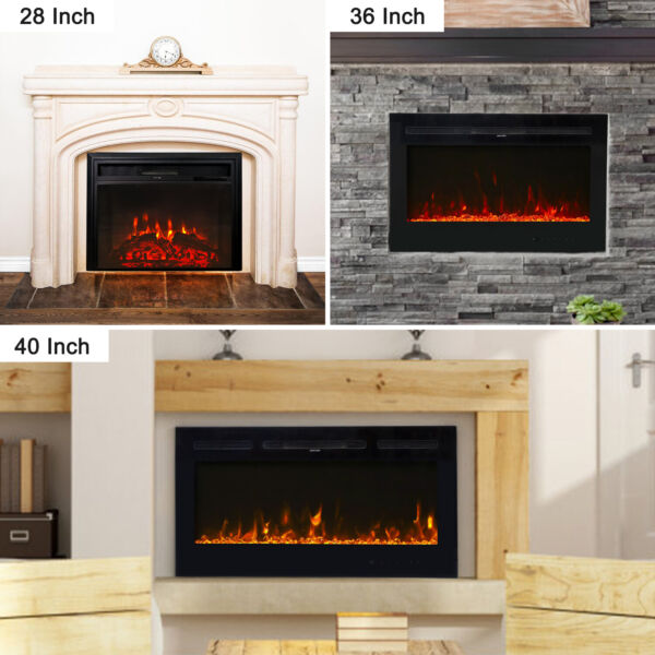 28#x27;#x27; 36#x27;#x27; 40#x27;#x27; Electric Fireplace Recessed Wall Mounted Heater Remote Control