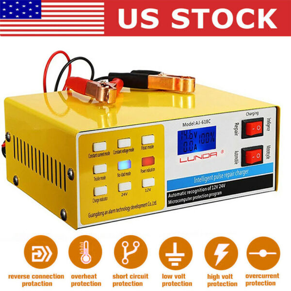 Automatic Smart Pulse Car Battery Charger Repair Starter Motorcycle 12V 24V 10A $26.99