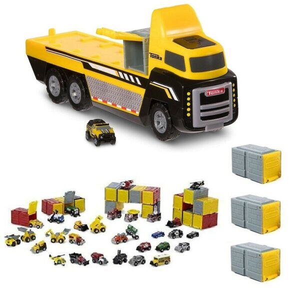 Set of Tonka Tinys Car Carrier with 12 Tins Vehicles and Garages NEW $28.90