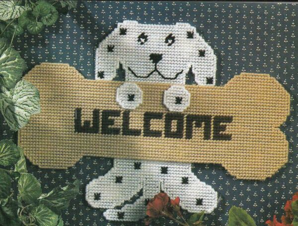 PET LOVER#x27;S WELCOME CAT amp; DOG HOME DECOR PLASTIC CANVAS PATTERN INSTRUCTIONS $2.50