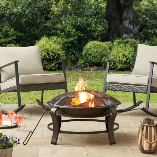Round Wood Burning Fire Pit Set 28quot; Steel Bowl Portable Backyard Fireplace Cover