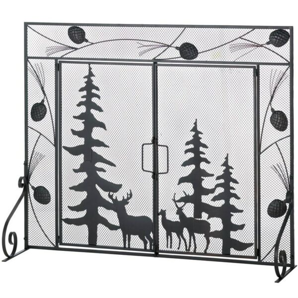 Woodland Scene Single Panel Iron Fireplace Mesh Screen Doors Deers Country