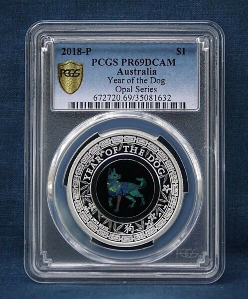 2018 P AUSTRALIA OPAL LUNAR YEAR OF THE DOG SILVER PROOF PCGSPR69DCAM $199.95