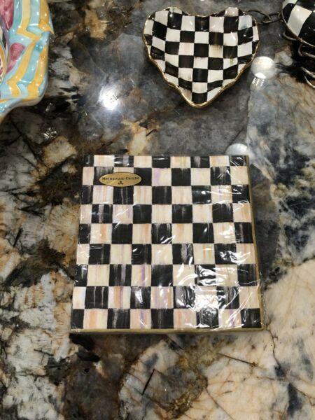MacKenzie Childs Courtly Check Paper Napkins Dinner Gold. 20 Available.
