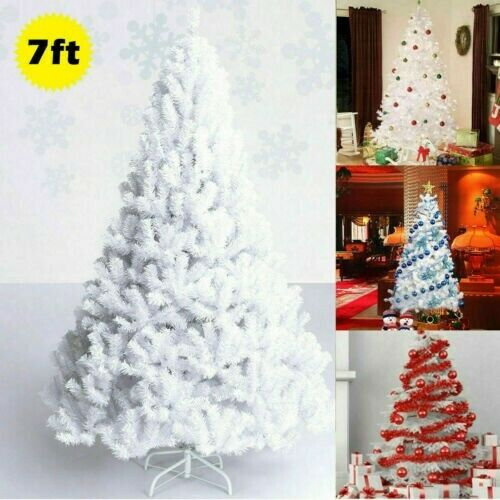7FT Artificial Pre lit White Christmas Tree with Metal Stand Christmas Village