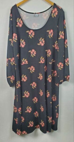 Old Navy 3X Plus Dress Fit amp; Flare Black Floral NWT $23.00