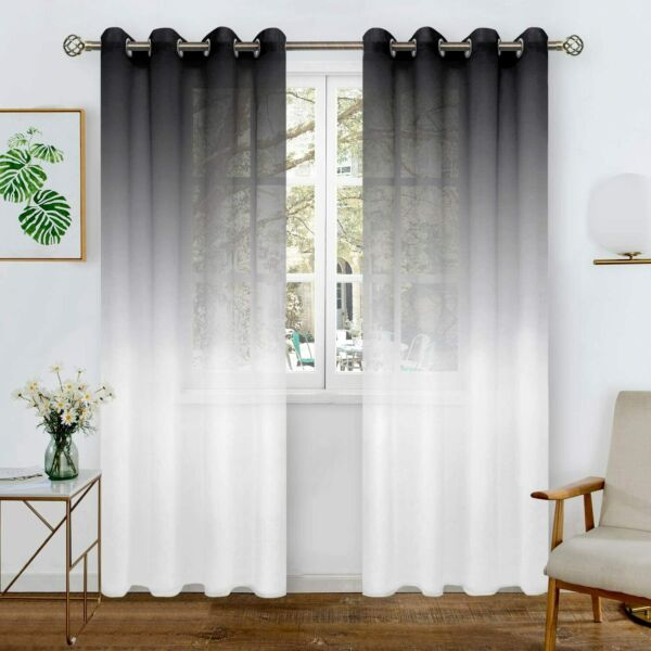 BGment Faux Linen Ombre Sheer Curtains for Living Room Grommet Semi Voile