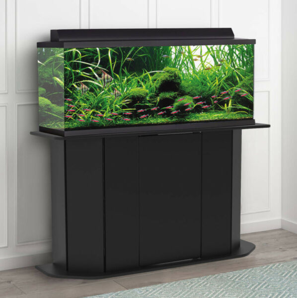 AQUARIUM STAND 55 Gallon Black Solid Wood Storage Fish Tank Not Included $122.21