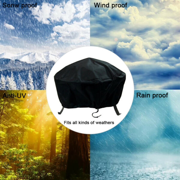 30#x27;#x27; Patio Round Fire Pit Cover Waterproof UV Protector Grill BBQ Cover Black $9.99