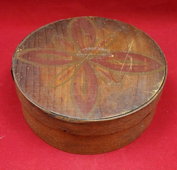 Antique Murdock amp; Co Pantry Box Bentwood with Painted Lid AAFA