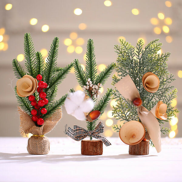 Set of 3 Christmas Desk Decoration Christmas Tree Ornament Mini Artificial NEW