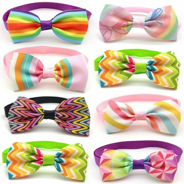 50pcs Dog Rainbow Bow Ties Colorful Pride Bowknot Necktie Pet Grooming Supplies $45.99