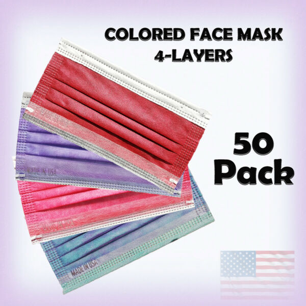 Colored Face Masks Made in USA 4 Layers 50 PK Disposable for Indoor and Outdoor $24.99
