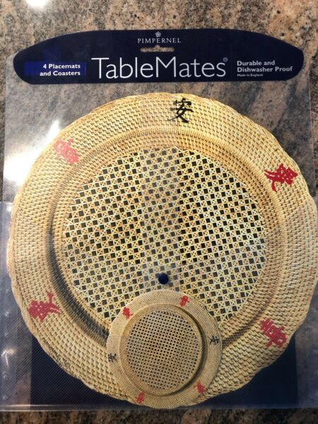 PIMPERNEL TABLEMATES 4 PLACEMATS 4 COASTERS ORIENTAL RATAN MADE IN ENGLAND NEW