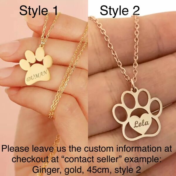 Cute Cat Dog Paw Footprint Engraved Custom Name Necklace Stainless Steel $24.00