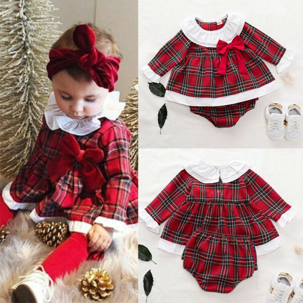 Newborn Baby Girls Christmas Red Plaid Check Tartan Romper Dress Shorts Outfit