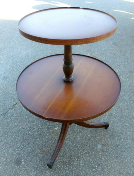 Vintage Wood Two Tier Accent Side Table