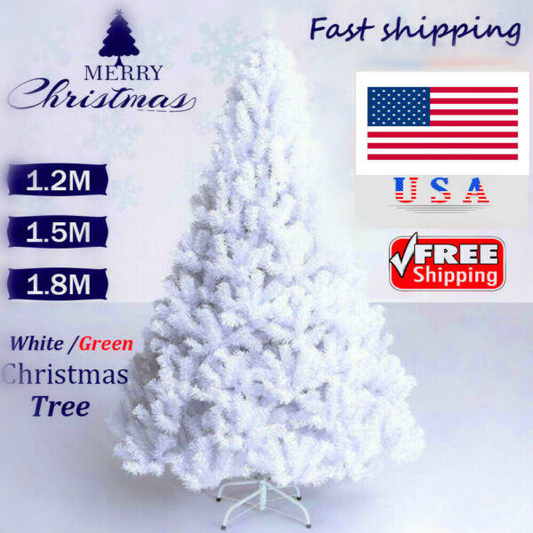 5ft 6ft White Artificial Christmas Tree W Stand Traditional Xmas Home Decoration