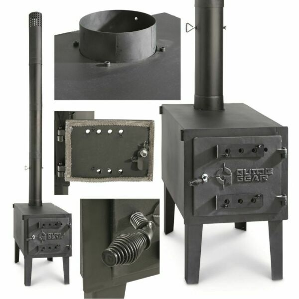 OUTDOOR WOOD BURNING LARGE STOVE Steel Camping Survival Tent Grill Cook Portable $315.40