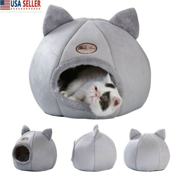 Cats Cave Bed Pet Dogs Kitten For Indoor Cozy House Bed Igloo Winter Nest Kennel $17.50