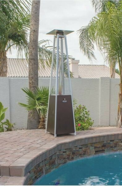 Hiland HLDSO1 WGTHG Pyramid Patio Propane Heater w Wheels 87 Inches Hammered B