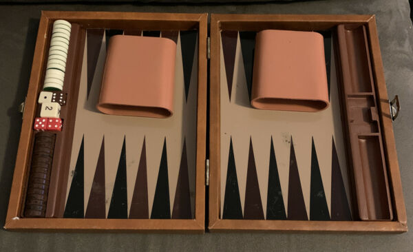 Travel Backgammon Set Magnetic IN BROWN LEATHER CASE