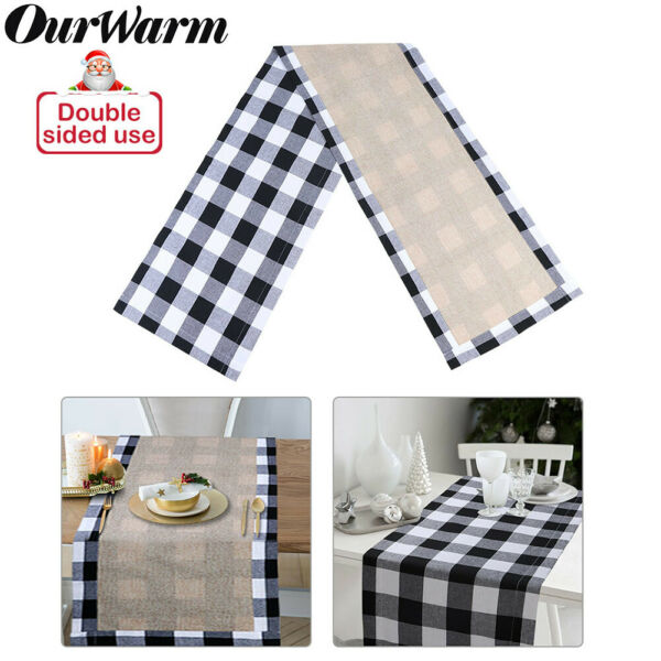 Buffalo Plaid Table Runner Cotton Burlap Farmhouse Party Christmas Table Decor