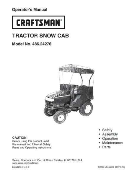 Craftsman Lawn Tractor Snow Cab Instruction Operator Manual 486.24276