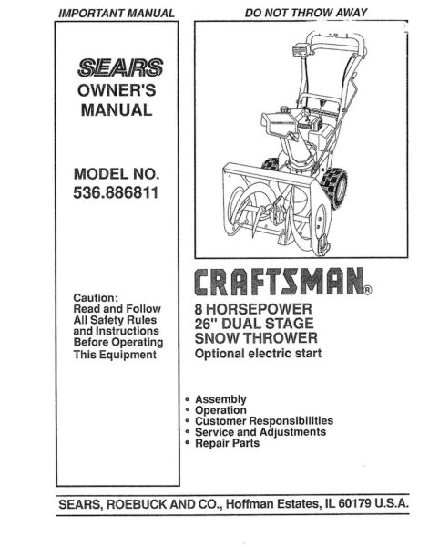Sears Craftsman Snow Thrower 8HP Owners Operators INSTRUCTION Manual 536.886811