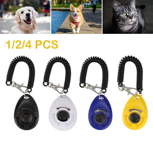 1 4x Dog Training Clicker Click Button Trainer Pet Cat Puppy Obedience Aid Wrist $5.29