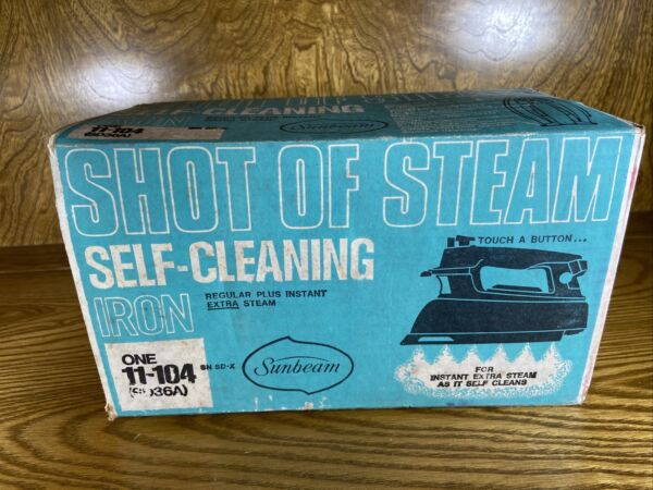 Vintage Sunbeam Shot Of Steam Self cleaning Iron 11 104 Blue With Box