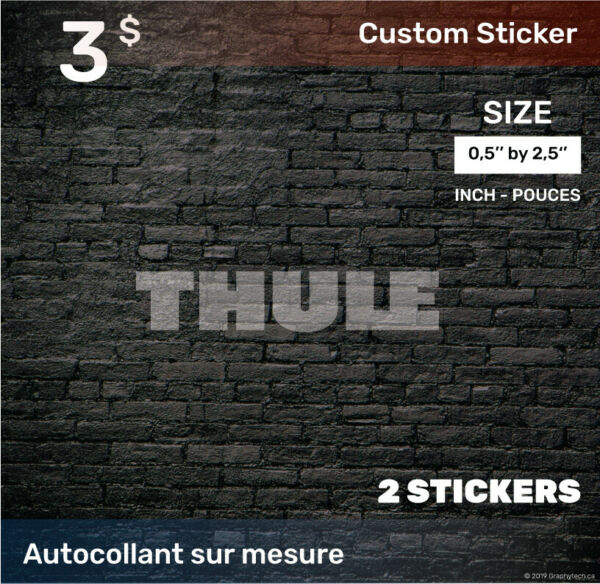05 by 25 inch Sticker Decal Compatible THULE 2x white C $3.00