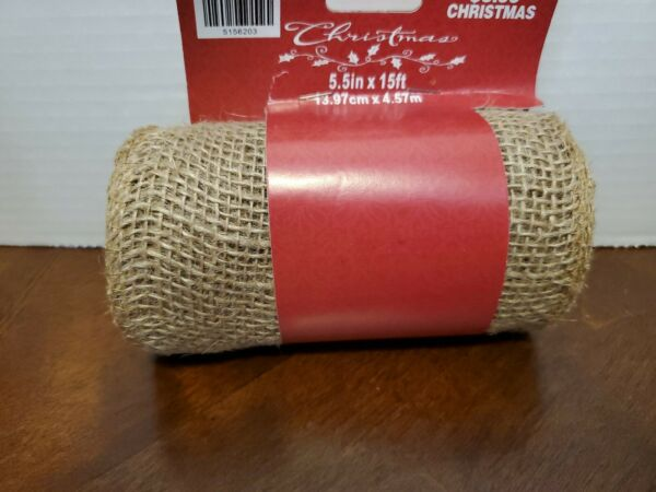 Burlap Ribbon Extra Wide 5.5 in x 15ft Christmas tan