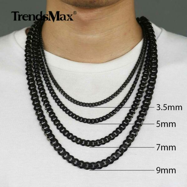 3.5 11mm Black Stainless Steel Curb Cuban Chain Necklace Choker Christmas Gift