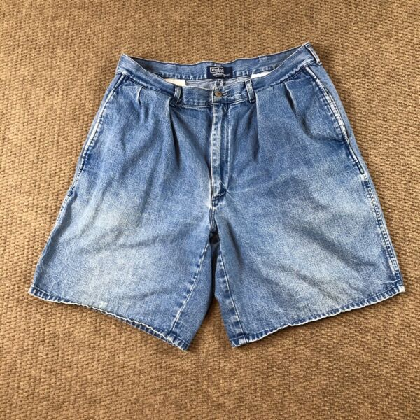 Polo Ralph Lauren Vintage 32quot; Made in USA Blue Denim Shorts 32