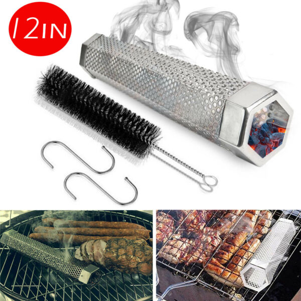 12in Stainless Steel Outdoor Wood Pellet Grill Smoker Filter Tube Pipe Smoke BBQ