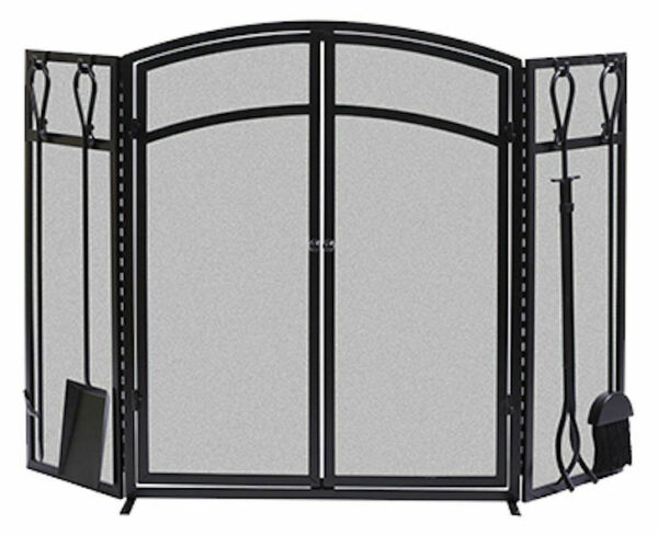 32quot; high x 50quot; wide Black 3 Panel Arch Fireplace Screen w Doors Tools MUSE SEE